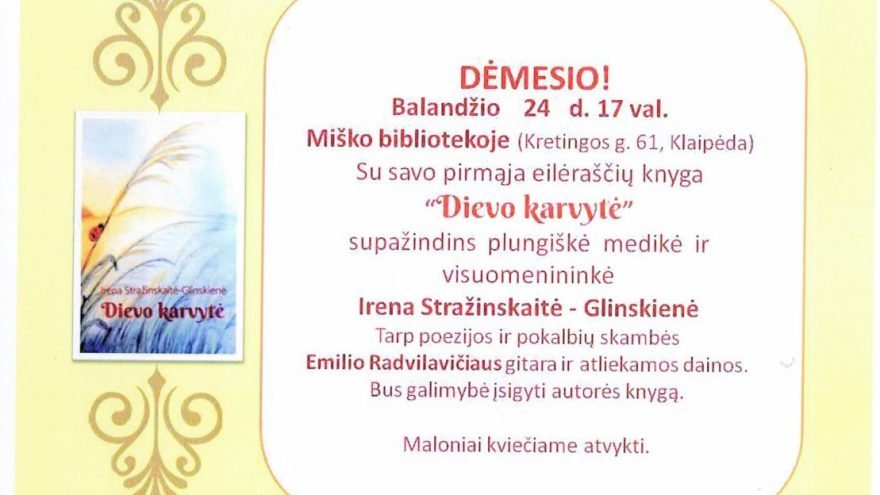 Šiltas ir jaukus susitikimas su poete Irena Stražinskaite-Glinskiene