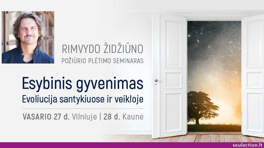 """Rimvydo Židžiūno požiūrio plėtimo seminaras """"Esybinis gyvenimas. Evoliucija santykiuose ir veikloje"""" Kaune"""