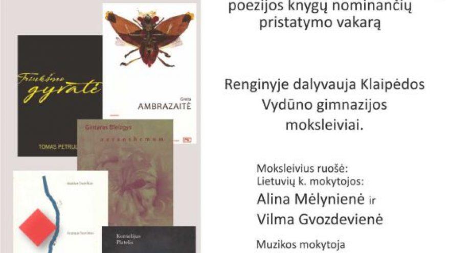 """""""Metų knygos rinkimai 2018"""" poezijos knygų pristatymai"""