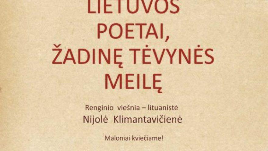 """Paskaita-diskusija """"Lietuvos poetai, žadinę tėvynės meilę"""""""